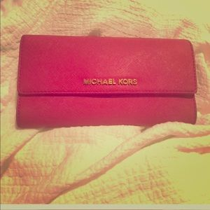 Michael Kors Hot pink tri-fold wallet